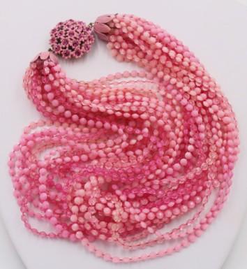 Vintage Pink Plastic Torsade Rose Rhinestone Flower Clasp Necklace retro