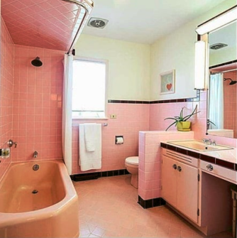 Vintage Pink Retro Bathroom