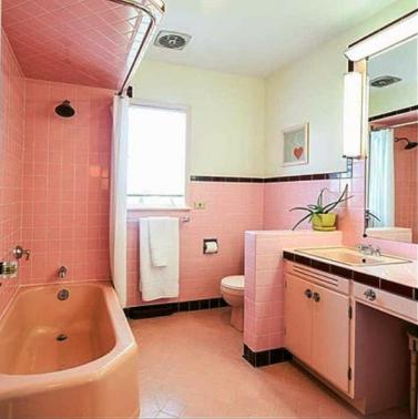 Vintage Pink Retro Bathroom