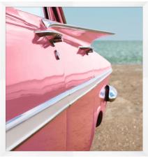 Vintage Pink Retro Cadillac Art