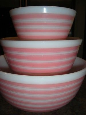 Vintage Pink Retro Pyrex Striped Bowls