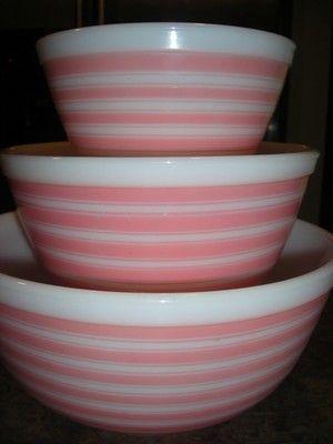 Vintage Pink Retro Pyrex Striped Bowls