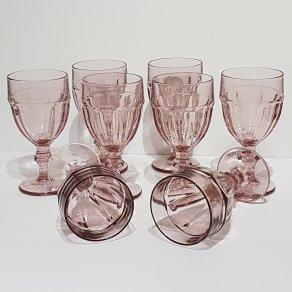 Vintage Retro pink Libbey Gibraltar wine glasses