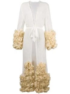 Yes Master Long Embroidered ruffled Night Gown $2214 2018