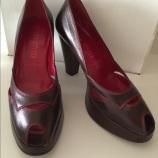 Retro Miu Miu Brown Leather Platform Peep-Toe Pumps with Red Stitching