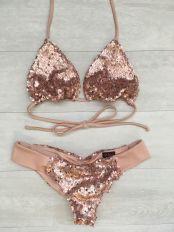 Sultry Swimwear Rose gold sequin bikini swimwear