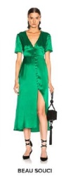 Fwrd Green Satin Dress