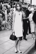 Mini dress Designed by Mary Quant on British Fashion model Jean Shrimpton