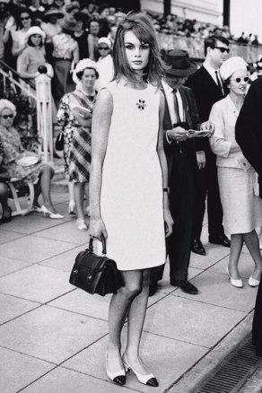 Mini dress Designed by Mary Quant on British Fashion model Jean Shrimpton