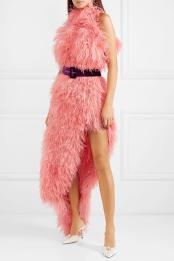attico-pink-Asymmetric-Feathered-Tulle-Dress