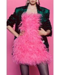 attico-pink-Feather-embellished-Cotton-Mini-Dress