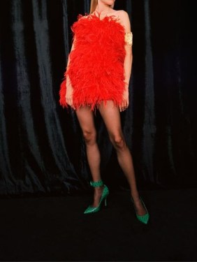 Attico Red Feather strapless dress