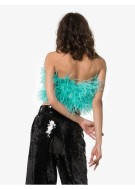 Attico. Ostrich Feather Cropped Bustier