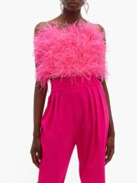 The Attico Faux pearl-trimmed ostrich feather top