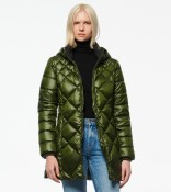 Andrew Marc Diamond Quilted Down Coat Green