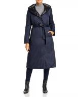 Donna Karan New York Reversible Down Puffer Coat Bloomingdales $450 front blue