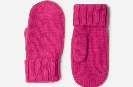 Everland Hot Pink Cashmere and Wool Mittens