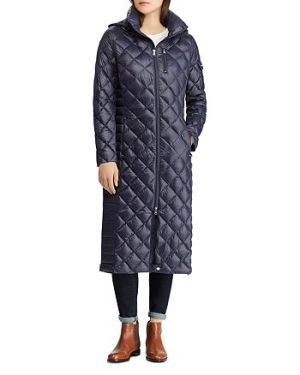 Ralph Lauren diamond pattern long down coat
