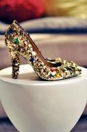 dolce gabbana gold bejeweled heels