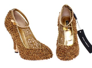 Dolce Gabbana-gold-floral-metal-leather-pumps-2