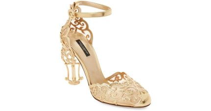 dolce-gabbana-Gold-Gold-Leather-Caged-heel-Pumps