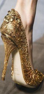 Dolce Gabbana Gold Heels +F-W+2014