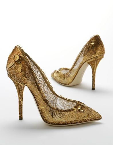 Dolce Gabbana gold--lace-heels-princess-shoes