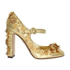Dolce-&-Gabbana-Gold-Leather-Floral-Studded-Pumps