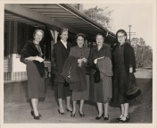 """The Ladies that lunch"" in front of the Wake Forest Passenger Depot. Pictured are Irene Mangum, Lib Greason, Irene Holding, Isabella Gill and Nancy Harris."