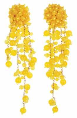 Oscar de la Renta Beading Earrings yellow
