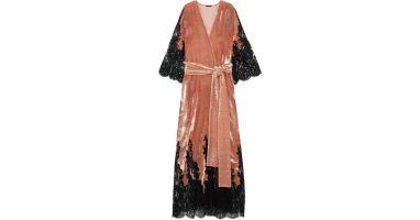 rosamosario-brick-Coprimi-Damore-Lace-paneled-Silk-velvet-Robe lingerie