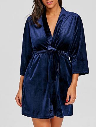 rosegal-CADETBLUE-Velvet-Lingerie-Dreamy-Short-Sleeping-Robe