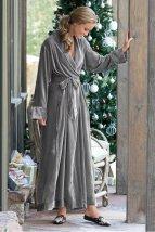 Soft Surroundings grey velvet robe lingerie