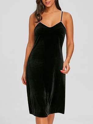Velvet Lingerie Slip Dress Rosegal