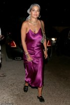 Rita Ora Purple satin slip dress