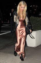 Rita Ora Taupe Satin slip maxi dress