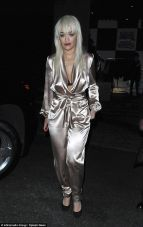 Rita Ora white satin jumpsuit
