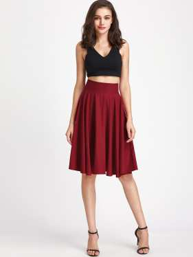 Shein High Rise Waistband Circle Skirt Rust $15.00