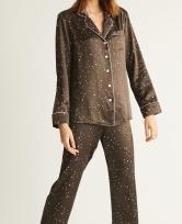 Sugar Cookies Lingerie Brown Silk star pajama set
