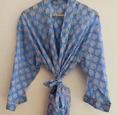 BrothersIndia Etsy Cotton Kimono Handblock print blue