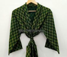 BrothersIndia Etsy Cotton Kimono Handblock print dark green