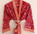 BrothersIndia Etsy Cotton Kimono Handblock print red