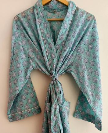BrothersIndia Etsy Cotton Kimono Handblock print sea green