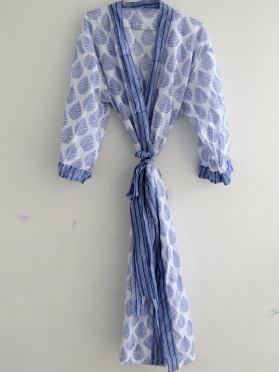 BrothersIndia Etsy Cotton Kimono Handblock print white