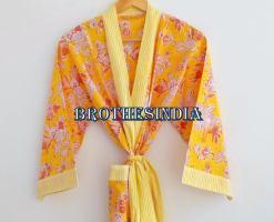 BrothersIndia Etsy Cotton Kimono Handblock print yellow
