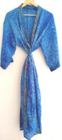 BrothersIndia Etsy Silk Sari fabric kimono blue
