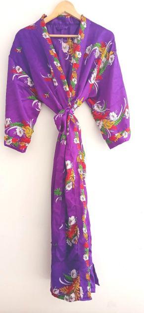 BrothersIndia Etsy Silk Sari fabric kimono purple
