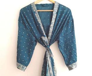 BrothersIndia Etsy Silk Sari fabric kimono teal