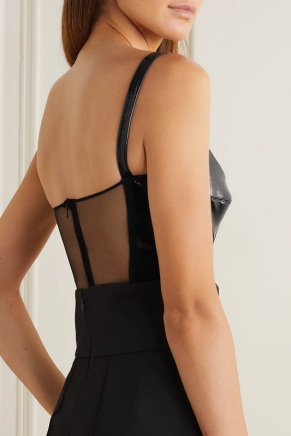 David Koma black patent leather tulle bodysuit back