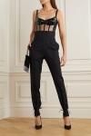 David Koma black patent leather tulle bodysuitmodel